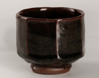 Faceted Tenmoku and Ash glazed yunomi