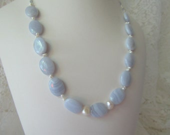 Summer Breeze/Blue Lace Agate Necklace/ECS