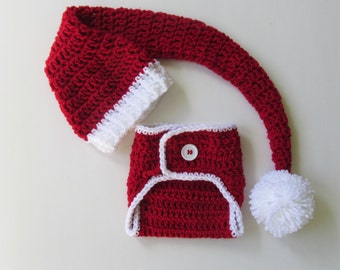 Long Santa Hat with diaper cover ~Newborn, 0-3, 3-6, 6-12, 12-24 months. Crochet knit Christmas Photography Prop