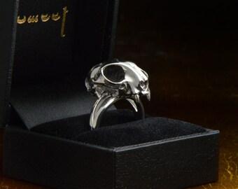 Silver cat skull ring. A very detailed cat skull jewelry. Sterling cat band. Feline skull ring. Animal skull ring. Distinct skull ring.