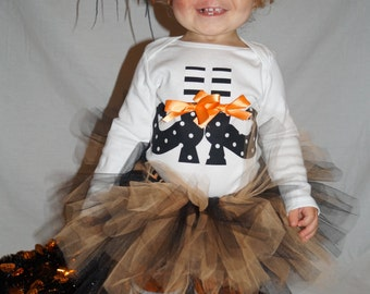 Baby girl halloween tutu - black and orange tutu - baby witch costume