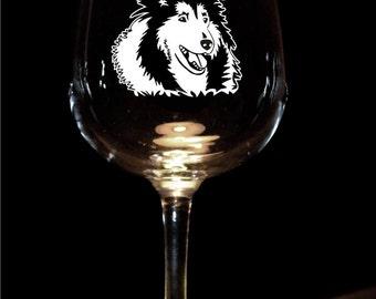 Collie Wine Glasses - Set of 2 - Sandblasted Glass