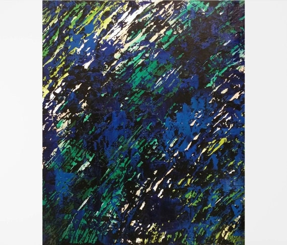 dorm wall art oil on canvas blue abstract art blue and green. Black Bedroom Furniture Sets. Home Design Ideas