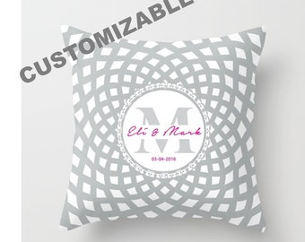 Custom Decorative Throw Pillow Cover -  Monogram, Initials, Names, Date, Insert, Gift, Indoors, Outdoors, Rosette, Classic, Marriage, Color