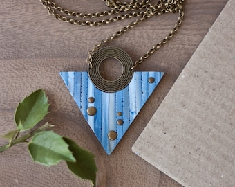 Blue Triangle necklace - Contemporary Geometric Necklace - Brass Geometric Jewelry - Riveted Necklace