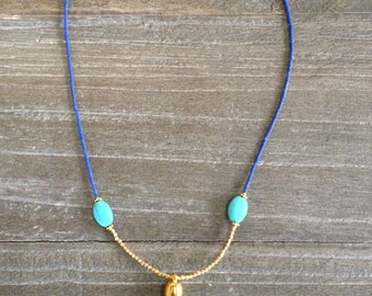 Lapis Lazuli, turquoise, gold bead tassel necklace