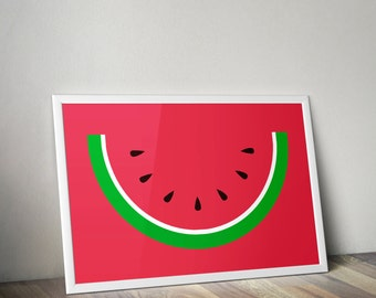 Watermelon red print - Kitchen print - kids room - nursery print - Printable summer poster - home decor - food art - Instant Download