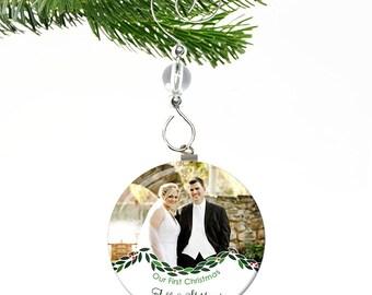 Wedding Ornament- Wedding Christmas Ornament- Our First Christmas Ornament- Newlywed Ornament- Our First Christmas as Mr and Mrs- Photo