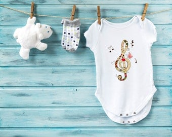 Musical bodysuit,  cute baby clothes, orchestra bodysuit, cute baby clothes, music baby bodysuit, note bodysuit, baby girl, baby boy