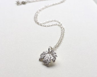 Maple leaf necklace maple leaf pendant silver leaf necklace - nature jewellery