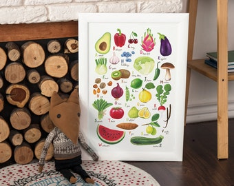 Fruit and vegetable abc poster, Vegan abc poster,  giclee print