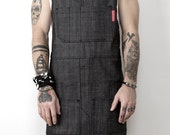Cargo Apron - Mesh Gray Denim - Black Leather - Split-Leg