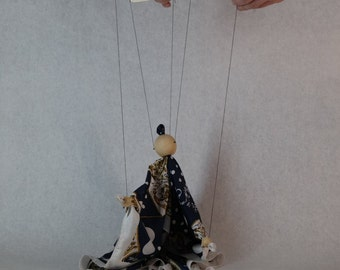 Navy and white dot/floral scarf marionette puppet
