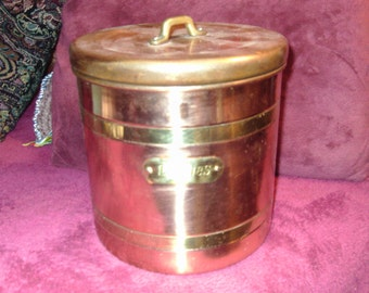Free Shipping...Copper and Brass Cookie Canister