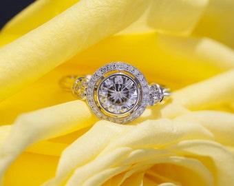 6.5mm Forever One Moissanite and Diamond Halo Engagement Ring in 14k White Gold with Milgrain Design, Bezel Set Engagement