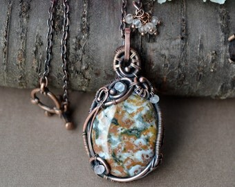Jasper pendant, wire wrapped pendant, rose quartz, wire jewelry,  jasper necklace, inspirational jewelry, gift for her, natural gemstone