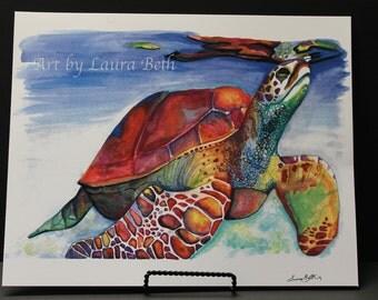 11x14 Watercolor Sea Turtle-- Print