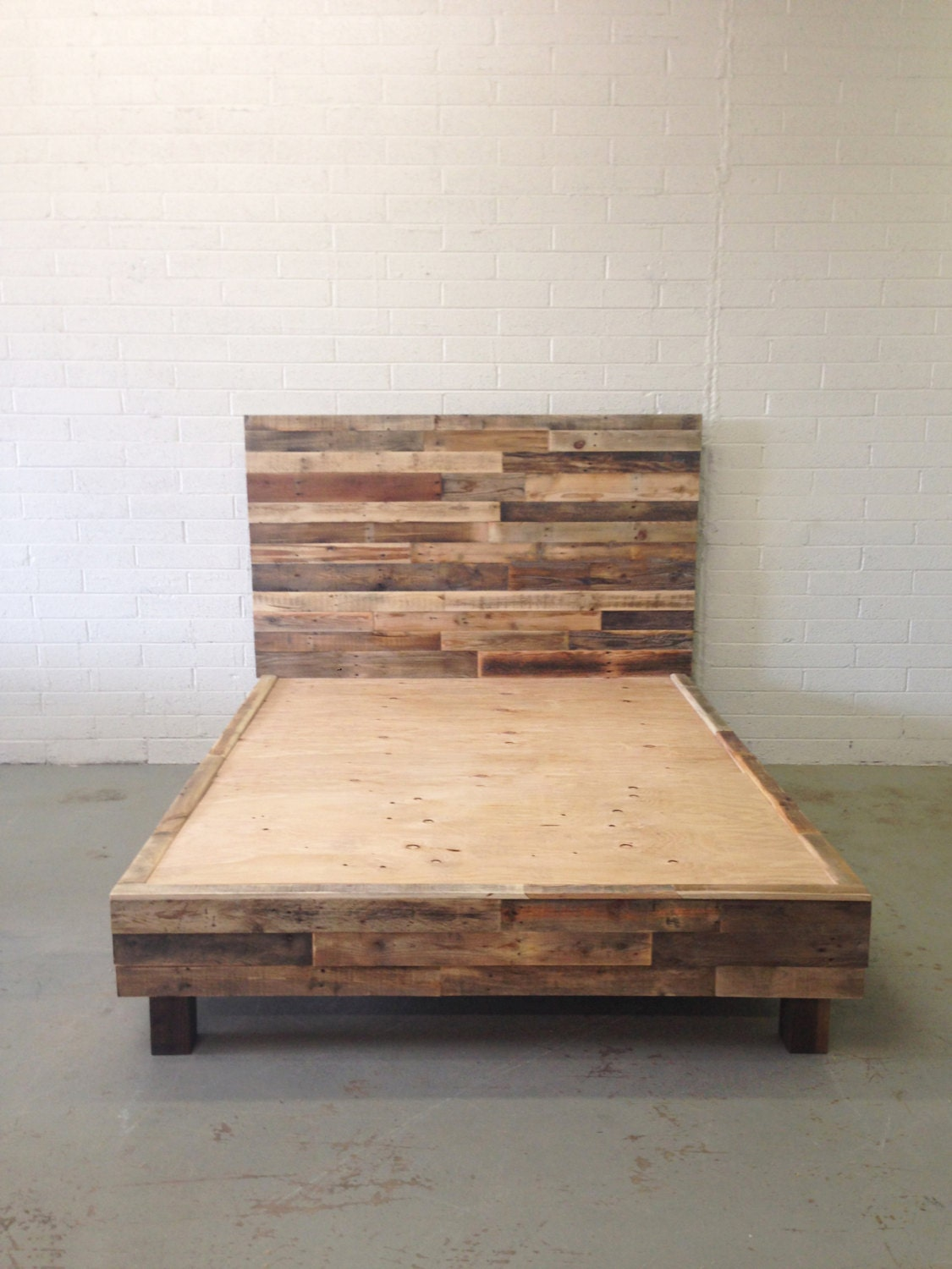 reclaimed wood platform bed base pallet natural twin full