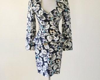 VTG Emanuel Ungaro Paralelle Cotton Floral Print Skirt Suit
