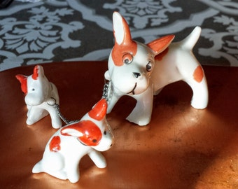 Vintage Ceramic Leashed Dog Trio Japan