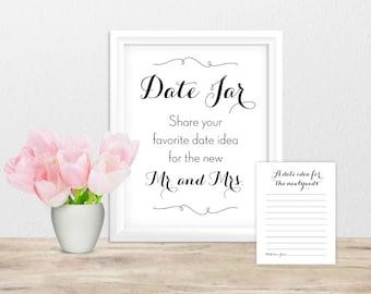 Printable Date Jar Sign and Date Idea Cards • Wedding Reception Activity • Bridal Shower Game • Instant Download Digital • Black Cursive