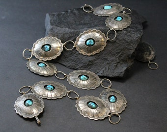 Navajo Turquoise Belt, Sterling Concho Link, Concho Belt, Tribal Jewelry, Native American Turquoise, Shadow Box Belt