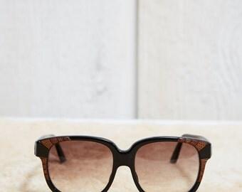 80s Emmanuelle Khanh Black Acetate and Snakeskin Leather Oversized Sunglasses • L