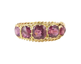 Victorian Pink Tourmaline Ring, In 15ct Gold, Antique Tourmaline Ring, Pink Stone Ring, Victorian Ring, Half Eternity Ring, 5 Stone Ring