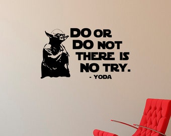 Yoda Wall Decal Quote Do Or Do Not There Is No Try, Star Wars Wall Decal Quote Boys Bedroom Decor Nursery Kids Baby Star Wars Gift Q214