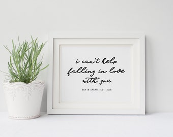 Personalized Wedding Gift Poster- Song Lyrics Poster- Elvis Presley, I Can't Help Falling in Love With You, Wedding Decor, Husband and Wife
