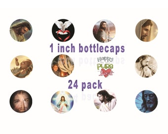 Digital JESUS - JESUS Inspired Digital Bottlecap Pack -24 Jesus Bottlecaps -Jesus Mini Cupcake Transfers - Size 1 Inch Jesus Bottlecap Art