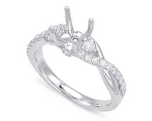 Diamond Twisted Band Engagement Ring Semi Mount 14k White Gold, 18k or Platinum, 1 Carat Center Stone, Diamond or Moissanite Choice, Simple