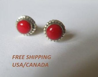 Red coral  stud earrings set in 9.5 sterling silver