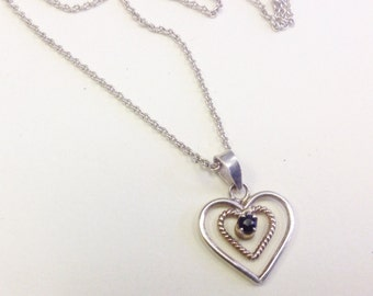 Vintage, sterling silver, heart necklace.