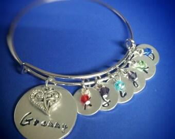 Grandmother Bracelet - Grandma Bracelet - Meme Bracelet - Family Bracelet - Hand Stamped Bracelet - Charm Bracelet - Childrens Name Bracelet