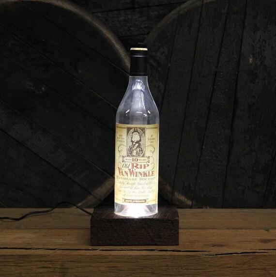 Old Rip Van Winkle Bourbon LED Light / Reclaimed Wood Base Desk Lamp / Handmade Tabletop Lamp / Upcycled Bourbon Bottle Lighting / Custom