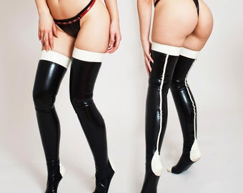 Latex Stockings - Handmade, Custom Made to order, Two colors, Black and White, Rubber, Fetish Clothing. Tight and Shiny Stockings.
