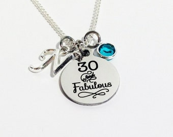 30th Birthday, 30th Birthday Gift, 30th Birthday for her, Thirty Birthday, 30 and Fabulous Necklace, Thirty Gift, 30th Birthday Gift for her