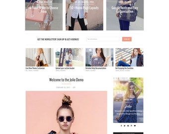 "WordPress Theme - Responsive, Dramatic, Fashion - ""Jolie"" for WordPress - Woocommerce - Customizable and Simple - Instant Download - Fashion"