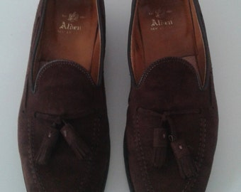 Vintage Alden Classic Dark Brown Suede Tassel Loafers Sz 10 Dapper