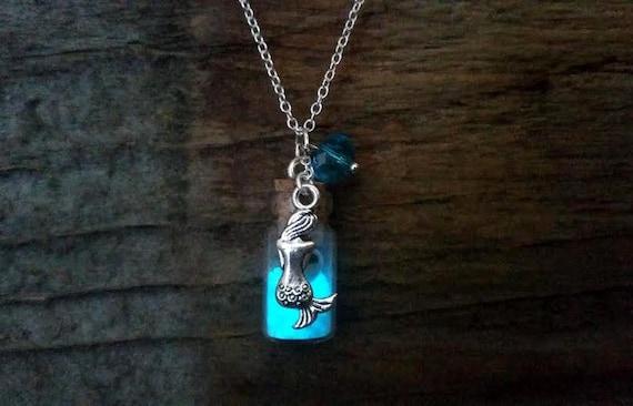 Glow Mermaid Necklace, Glow in the Dark Blue Sand, Glowing Mermaid, Seashells in Bottle, Glowing Sea Bottle, Nautical Boho, Dainty Beach