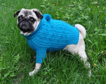 Knitting Pattern Dog Coat Pug : Knitted dog sweater Etsy