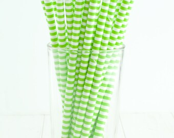 25 Thin Stripe Lime Green and White Straws- Great for a lime green wedding, green birthday party, green baptism party, or green baby shower!