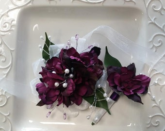 Prom Corsage and Boutonniere Set  Dark Purple Wrist Corsage and Matching Boutonniere   Prom Set     Wedding Wrist Corsage