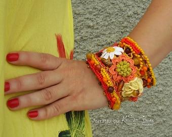 Beaded crochet bracelet, Crochet bracelet, Bohemian jewelry, Flower crochet bracelet, Yellow and orange bracelet, Natural stones bracelet