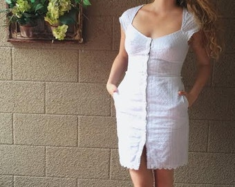 Vintage White Lacey Dress Small