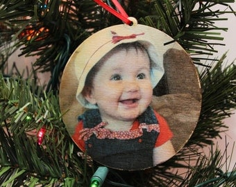 Circle Wood Photo Ornament