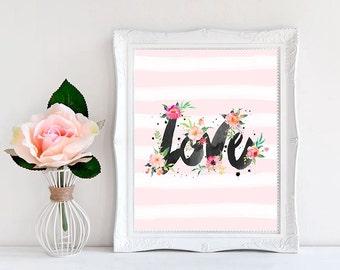 Instant Download Print, Love Print, WordsAndConfetti, Wall Art, Baby Girl Nursery Decor, Nursery Decor Girl, Pink Nursery Decor, Love Poster