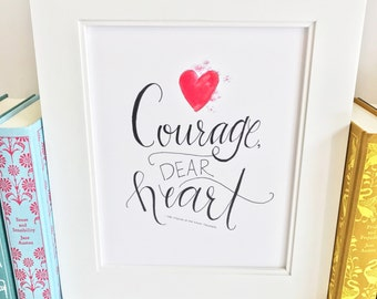 Courage Quote Print - Chronicles of Narnia - C.S. Lewis - handlettering - QLP