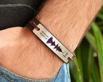 FAST SHIPPING, Silver Bracelet, Sound Wave Bracelet, Leather Personalize Bracelet, Coordinate Bracelet, Roman Numerals Bracelet, Men's Gift
